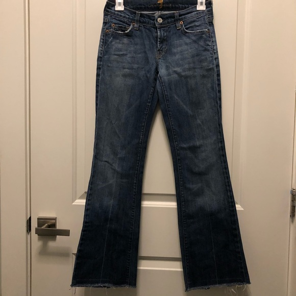 7 For All Mankind Denim - 7 for all mankind dark blue faded frayed jeans 25